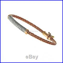 Roberto Coin Spiga Collection Woven Diamond Bracelet/Bangle 18k Rose Gold, 7