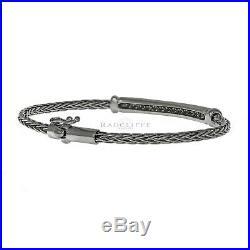 Roberto Coin Spiga Collection Woven Diamond Bracelet/Bangle, 18k White Gold, 7