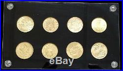 Royal Gold 8 Coin Collection 20 Francs, Coronas, Marks, Rouble, Sovereign, Lire