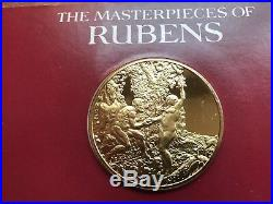 Rubens Masterpieces Franklin Mint 7pc 24k Gold Plated Sterling Silver Coin Set