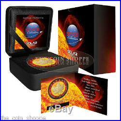 SOLAR FLARE SPACE COLLECTION 2015 1 oz $5 Fine Silver Coin Ruthenium 24K GOLD