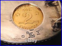 SUNSET TRAILS sterling 2 OZ SOLID GOLD COIN Miners BELT BUCKLE Baker City OR