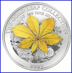 Samoa 2014 10$ Gold Leaf Collection 3D Horse Chestnut 1 Oz Silbermünze 1