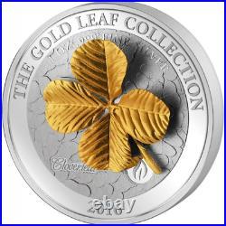 Samoa 2016 10$ Gold Leaf Collection 3D Four Leaf Clover 1 Oz Silbermünze 5