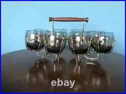 Set 8 Vintage Roly Poly Glasses & Caddy Federal Gold Coin MAD MEN Mid Century
