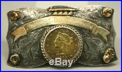 Shoshone Pow wow Sterling/14k Natural Gold Nuggets 1893 $10 Gold Coin Buckle