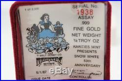 Snow White 50th Anniversary 1/4 Troy Oz. 999 Fine Gold Walt Disney Rarities Mint