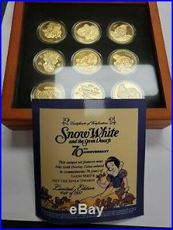 Snow White & 7-Dwarfs 24Kt Gold Overlay Coin Set 70th Anv Disney LIMITED EDITION