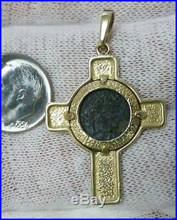 Solid 14K Yellow Cross Necklace Pendant with Authentic Widows Mite Coin L@@K