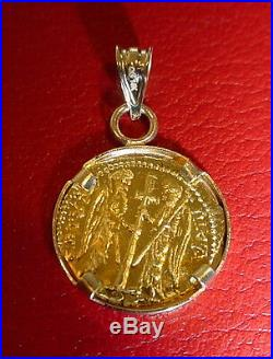 Solid 22K Gold Christ Coin Byzantine Icon Pendant 14K Diamond cut Bezel