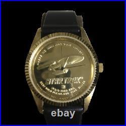 Star Trek coin watch U. S. S. Enterprise Coin Watch 1989 22KT Gold Over. 999 Fine