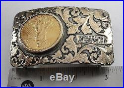 Sterling / 14k Boyd-Reno HE Buckle With 1925 $20 Double Eagle Gold Coin #BX5-GBB4