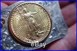 Sterling 14k Gold Swastika Double Eagle $20 Gold Coin Western Buckle c. 1930s