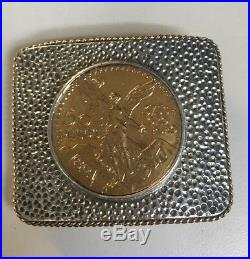 Sterling Silver And Gold Belt Buckle With 37.5g Gold Coin Buckle