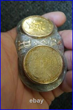 Sterling Silver Buckle $20 Liberty 1889, 1902 Gold Coin 14k AR initials