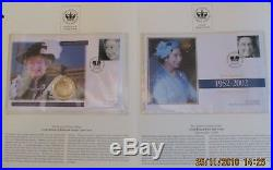 The Queen's Golden Jubilee Collection. RARE. 10 x coin, 10 x stamp covers, 1952-2002