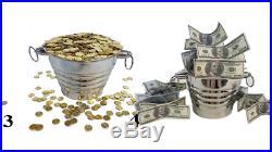 Tora Miser's Dream Coin Bucket 3x Illusion Stage Magic Trick money bills gold