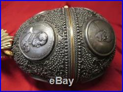 Unique Big H27 gift gilded jewelry case egg with Imperial coin 5year Russia 1998