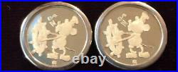 VTG Disney 24k/. 999 Gold Coin Earrings Steamboat Willie /60 yrs w Mickey Mouse