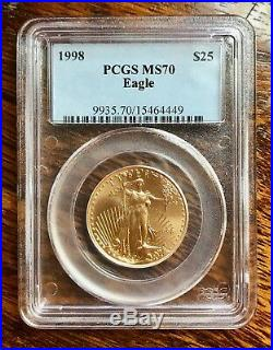 Very Rare Collectable 1998 $25 Gold Eagle PCGS MS70