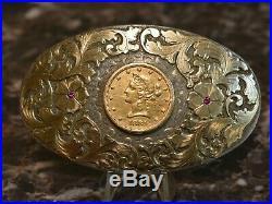 Vintage Boyd Belt Buckle Sterling 14K & 1881 $10 Gold Coin Liberty Eagle Buckles