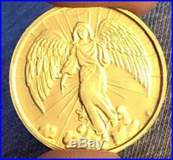 Vintage Christian Gold Tone Religious Angel Wings Halo Coin Medal