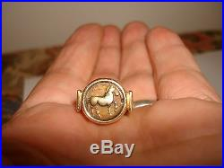 Vintage Collectible Unique 14k Yellow Gold Horse Coin Signet Pinky Ring 5.75