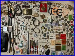 Vintage Estate Clean Out Junk Drawer Lot Coins SILVER Watches GOLD Turquoise