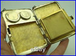 Vintage Etched Sterling Silver Gold Wash Lady's Compact Coin Change Purse