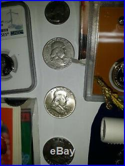 Vintage Junk Drawer Lot. Old SILVER/GOLD bars, silver Coins, proofs, Cards