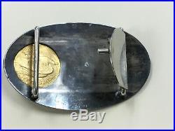 Vintage Sterling Silver Belt Buckle with $20 1924 gold Coin, 14k overlay signed