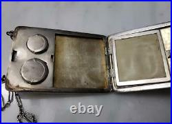 Vintage Sterling Silver with 14KT Gold Inlay Cigarette Coin Compact Clutch 1-H1000