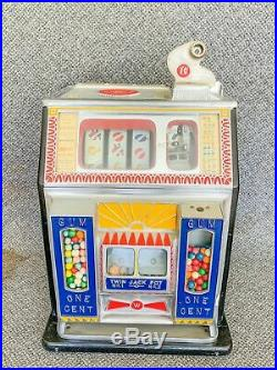 Vintage Watling Twin Jackpot Golden Coin Gum 1 Cent Penny Slot Machine Working
