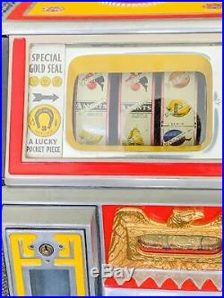 Vintage Watling Twin Jackpot Golden Coin Gum 5 Cent Nickel Slot Machine Working