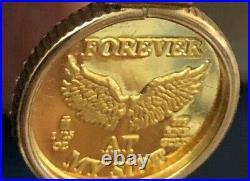Vntg 1/25th oz. 999 Gold Guardian Angel Pendant w 14k Bezel 2.1 Gram NEVER WORN