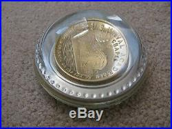 Vtg USNA US Naval Academy US Navy 150Th Anniv. PAPERWEIGHT GOLD COIN Encased