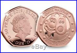Wallace and Gromit 2019 UK 50p Gold Proof Coin