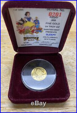 Walt Disney Snow White Sleepy 1/4 Oz Gold Coin Rarities Mint 1987 Low Serial