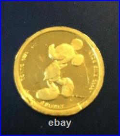 Walt Disney Vintage 1/25th OZ. 9999 Gold Mickey CoinRarely Seen on EbayFREE SH