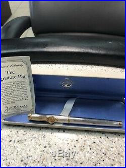 Waterman Sterling Silver Fountain Pen 18k Nib, 2 Gold Coins